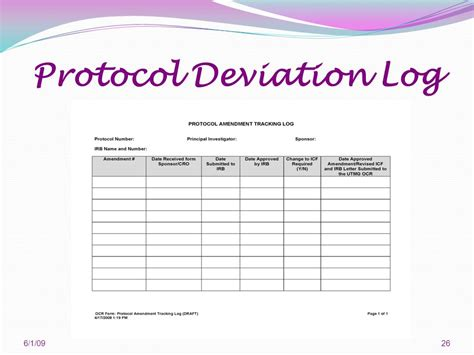 protocol deviation log template 6 1 ppt