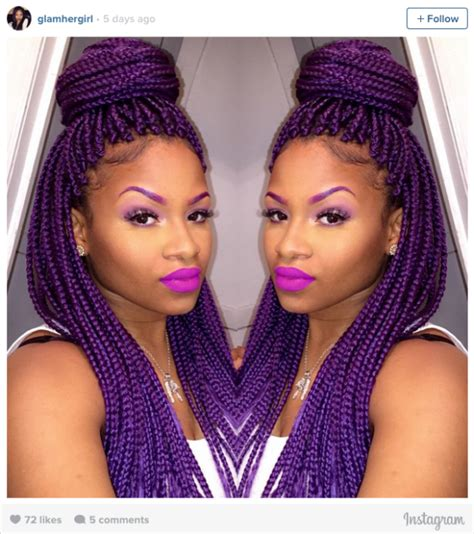 grey and purple combined together style box breads 16 stunning photos of colored box braids the summer