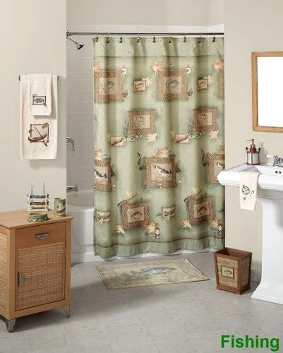 fishing bathroom accessories fishing shower curtain and accessories bath coordinates