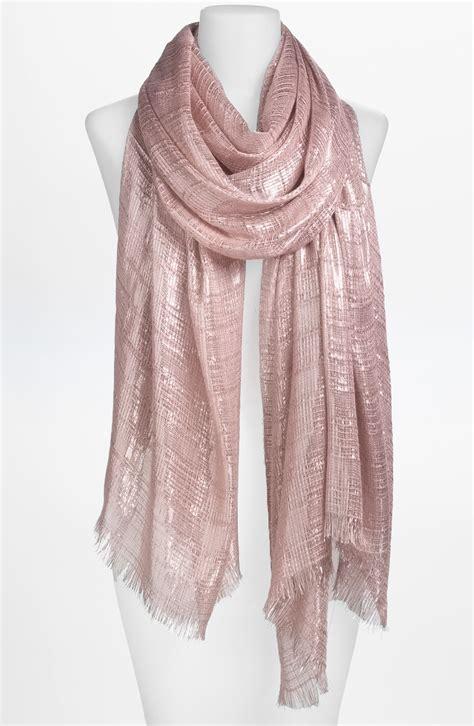 lulu lurex metallic scarf in pink light pink silver lyst