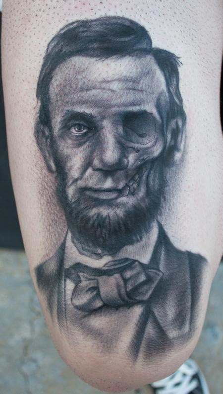 abraham lincoln tattoo junkies studio tattoos black and gray