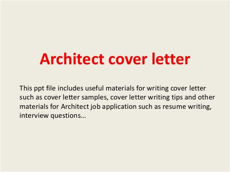 Cover Letter Format Architect architect cover letter