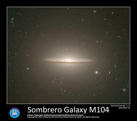sombrero galaxy sombrero galaxy m104 naoj national astronomical