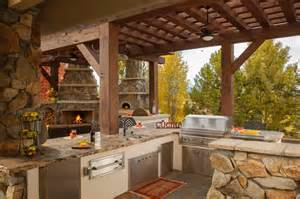 rustic outdoor kitchen with stainless steel appliances