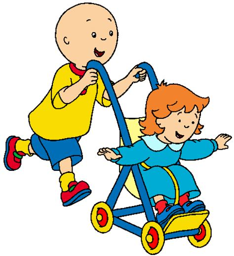 image caillou pushing rosie stroller gif caillou wiki fandom powered wikia