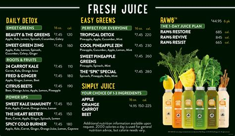 Detox Bar Menu by Smoothie Factory Menu Recherche Smoothie Bar