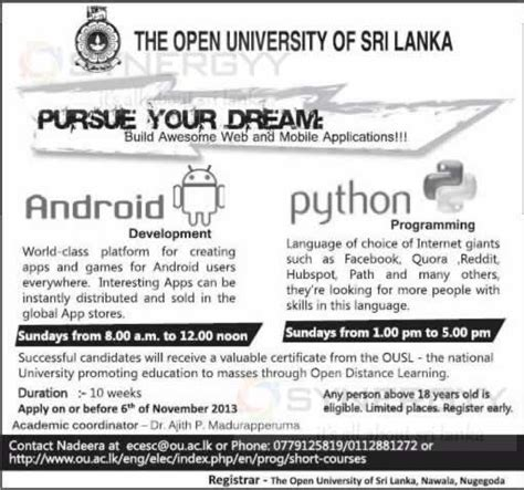 Open Mba Courses In Sri Lanka by Certificate Course In Android Application Python