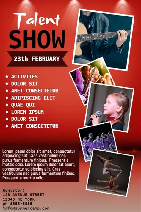 Talent Show Flyer Template Postermywall Free Printable Talent Show Flyer Template