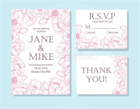 detailed wedding card template vintage wedding invitation card template set with