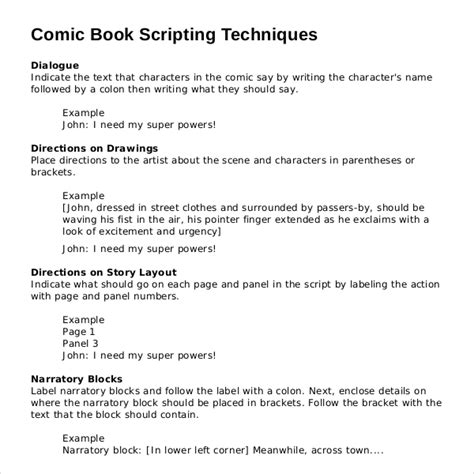 Comic Book Script Template by 11 Script Writing Templates Doc Pdf Free Premium