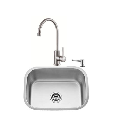 Kraus Stainless Steel Kitchen Sinks Kraus All In One Undermount Stainless Steel 23 In Single Basin Kitchen Sink With Faucet And