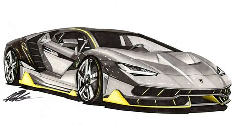 Lamborghini Drawing Realistic Car Drawing Lamborghini Centenario Time