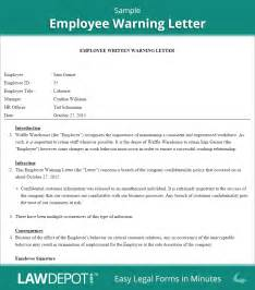 Employee Warning Template by Sle Warning Letter Poor Work Performance Cover Letter