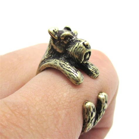 puppy ring 3d miniature schnauzer puppy animal wrap ring in brass sizes 5 to 9 183 dotoly
