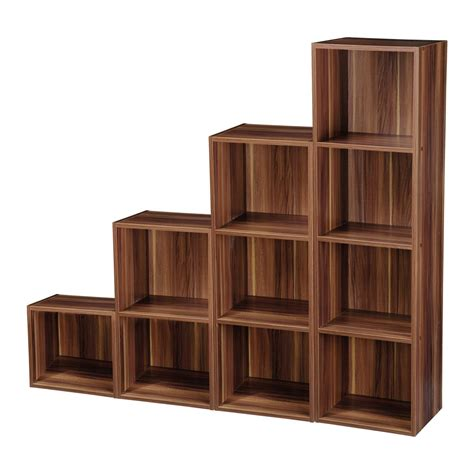 Wooden Bookshelf by 2 4 Tier Wooden Bookcase Shelving Bookshelf Storage
