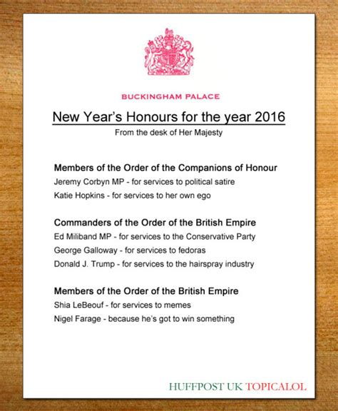 new year 2016 list new year s honours list 2016 as revealed by huffpost uk comedy