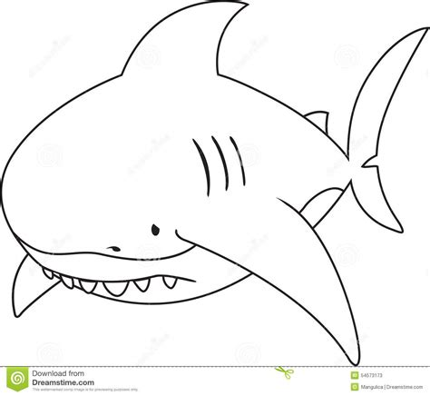 big shark coloring page sad looking great white shark stock vector image 54573173