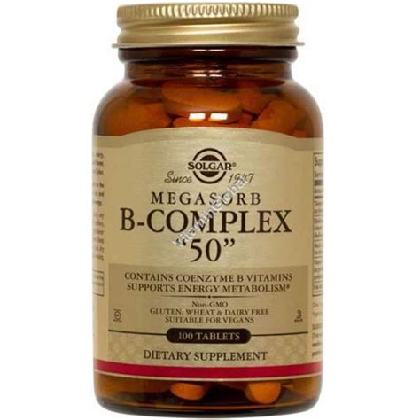 Vitamin B Complex 50 Mg megasorb b complex 50 mg 100 tablets solgar