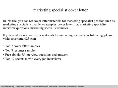 Marketing Support Specialist Cover Letter by Marketing Specialist Cover Letter