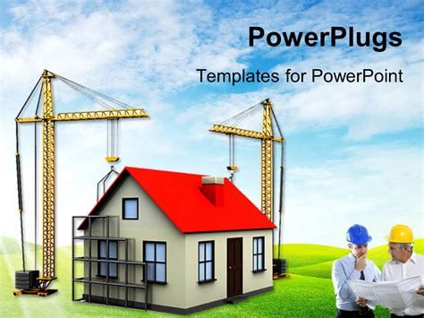 Powerpoint Template Two Cranes Building House Over Green Background With Architect In Front 16617 Building Powerpoint Templates