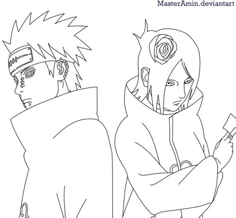 pain naruto coloring pages pein and konan by masteramin on deviantart