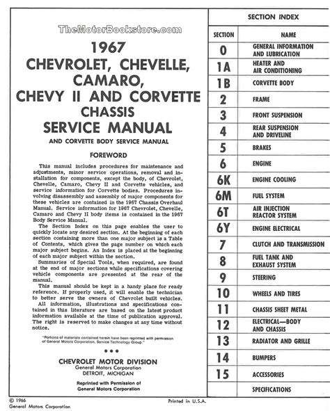 1967 chevrolet chassis service manual camaro chevelle