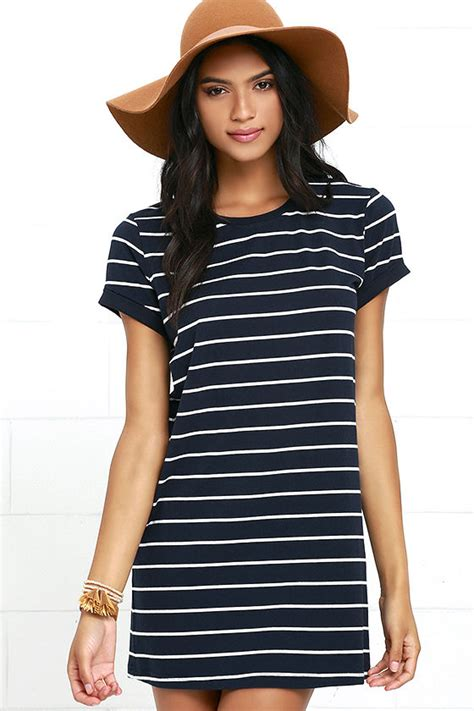 Striped Shirt Dress chic navy blue striped dress shirt dress shift dress