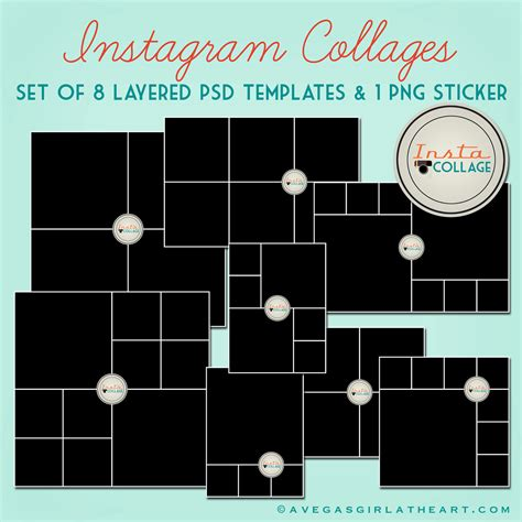 psd photo templates instagram layered psd collage templates 3x4 4x4 by perfectloop