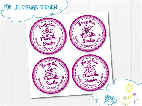 Aufkleber Mit Name Und Adresse by 24 15 Etiketten Quot Fleissige Biene Quot Personalisiert