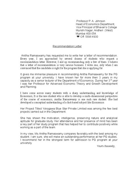 Recommendation Letter Sle For Student From Professor Recommendation Letter For Student From Professor Free