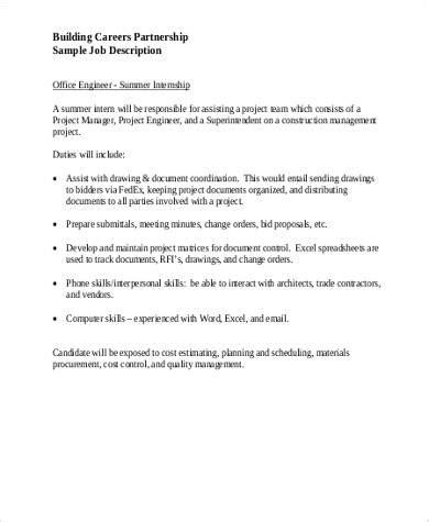 office intern description summer intern description sle 9 exles in word