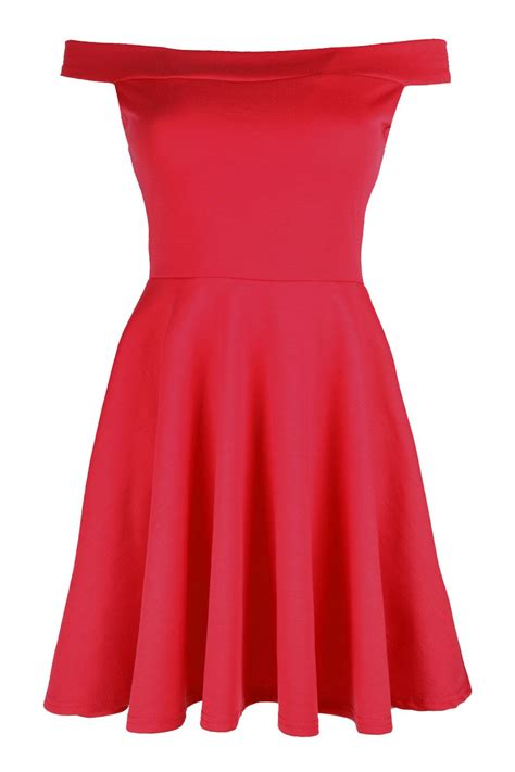 party swing dresses ladies womens skater off shoulder dress bardot flared