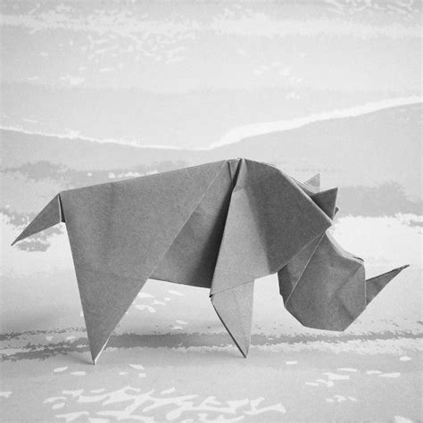 Origami Rhinoceros - june 15th 2015 origami rhino i made today designed by