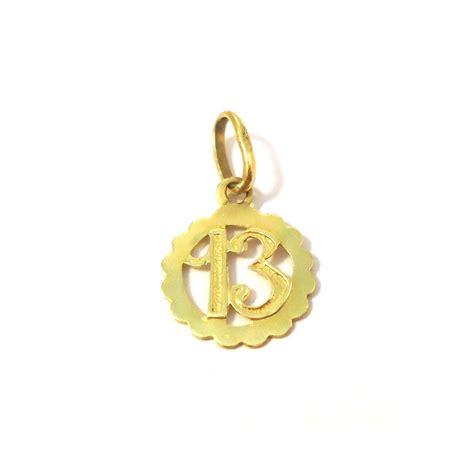ciondoli porta fortuna ciondolo portafortuna numero13 in oro giallo collana