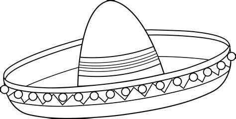 Sombrero Coloring Page Mexican Sombrero Line Art Free Clip Art
