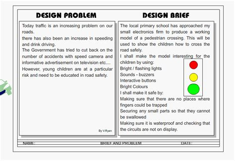 design brief exle for students design problem and brief