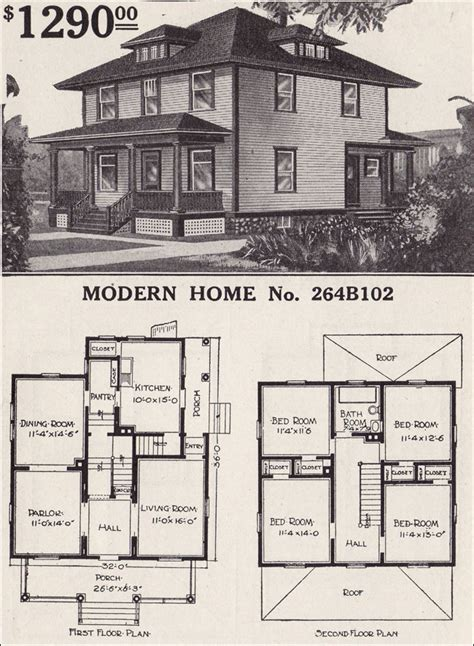 sears homes floor plans 1916 sears house plans modern home 264b102 prairie box