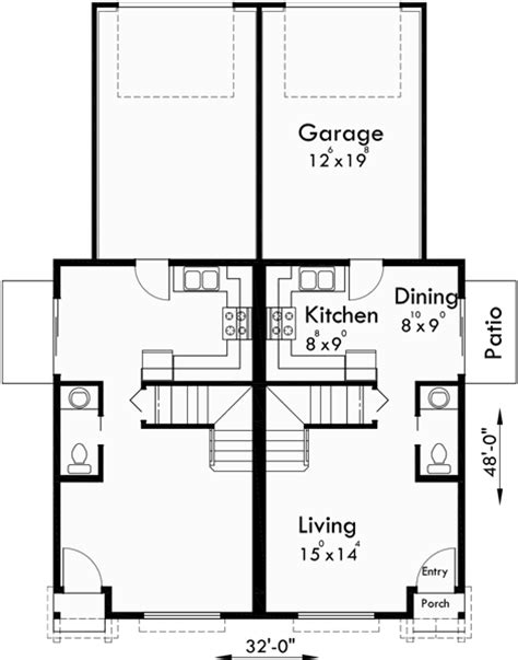 duplex narrow lot floor plans duplex house plans narrow lot duplex house plans d 543
