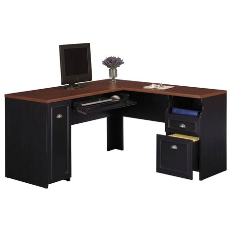 Desk L bush fairview l shaped desk wc53930 03k free shipping