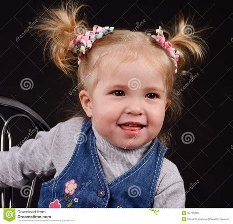 little girl hairstyles in ponytails little girl with ponytails stock photo image 43755660