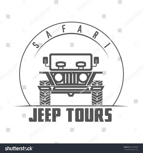 vintage jeep logo safari jeep tours retro monochrome outdoor stock vector