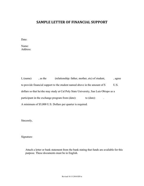 Letter Financial Support Letter letter of financial support in word and pdf formats