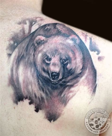 back tattoo bear realistic bear back piece done by trevor jameus