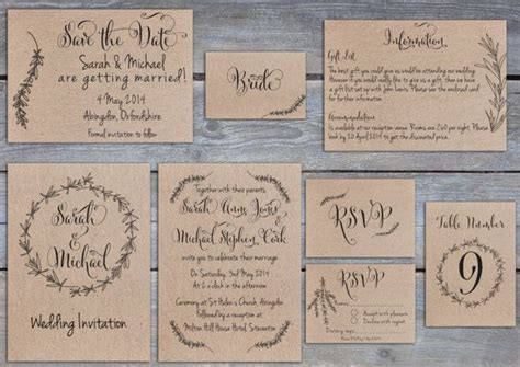 Wedding Invitations Ta by Printable Rustic Rosemary Wedding Invitation Save The