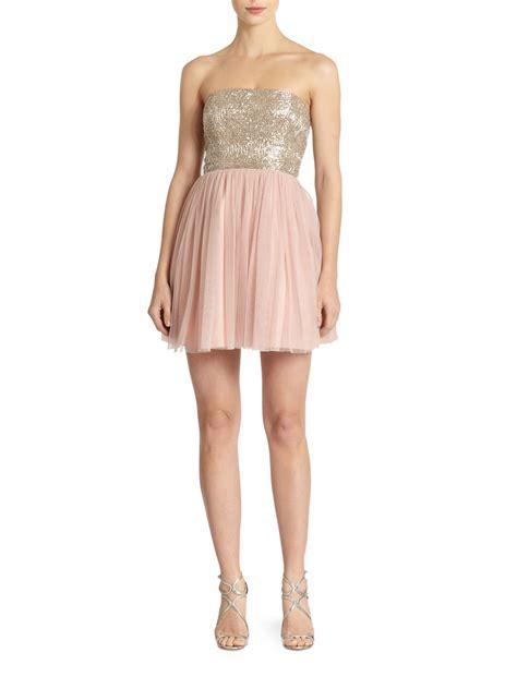 beaded top dress aidan mattox strapless beaded top tulle dress in pink