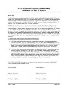Board Resolution Template Singapore by Board Resolution Approving Sale Of Shares Template