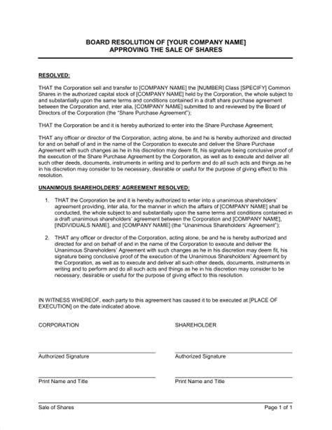 board resolution template uk board resolution approving sale of shares template