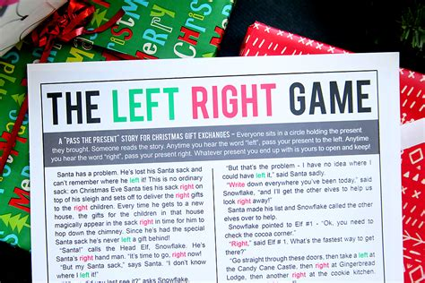 printable christmas exchange games the christmas left right game w printable story it s