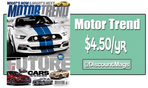 motor trend subscription motor trend magazine subscriptions 4 50 a year