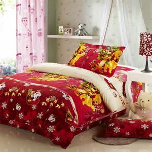 Red Comforter Sets Full Red Winnie The Pooh Celebrate The Christmas Gift Bedding